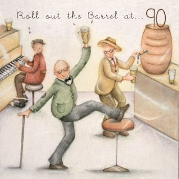 90th Birthday Card - Humorous RETRO Card - ROLL Out The BARREL At 90 - MILESTONE Birthday - 90th CARD For HIM - Card FOR Dad - Friend - BROTHER