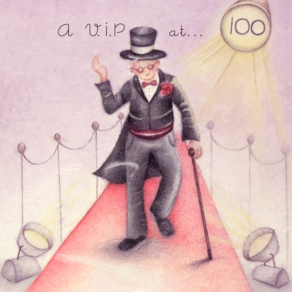 100th Birthday Card - Humorous RETRO Card - A VIP AT 100 - MILESTONE Birthd