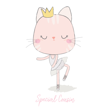 Birthday Card for Cousin - SPECIAL Cousin - BALLERINA Birthday Card - Ballerina CAT Birthday CARD - Ballet CARD - Children's Birthday CARD - Handmade