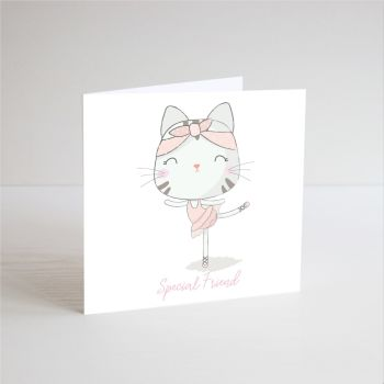 Birthday Card for Girl - SPECIAL Friend - BALLERINA Birthday Card - Ballerina CAT Birthday CARD - Ballet CARD - Children's Birthday CARD - Handmade