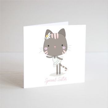 Birthday Card for Sister - SPECIAL Sister - BALLERINA Birthday Card - Ballerina CAT Birthday CARD - Ballet CARD - Children's Birthday CARD - Handmade