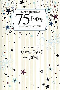 75th Birthday Card - WISHING You The VERY Best - 75 Today CONGRATULATIONS - STARRY Greeting Card For 75 YEAR Old