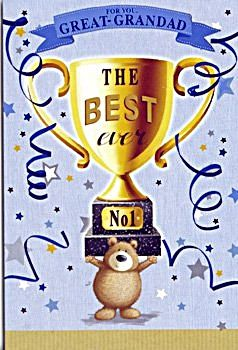 Great Grandad Birthday Cards  - THE Best EVER - Cute BEAR With TROPHY CARD