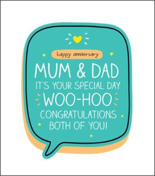 Anniversary Card For Parents - WOO HOO Congratulations - Funny ANNIVERSARY Card - Mum & DAD Anniversary CARDS - Happy ANNIVERSARY Mum & DAD