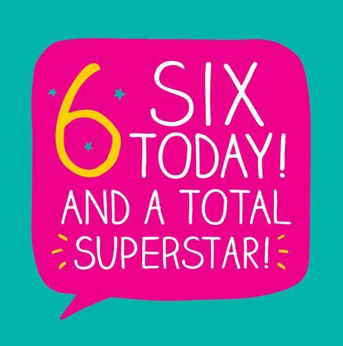 6th Birthday Card - SUPERSTAR Birthday Card - SIX TODAY Birthday CARD - Bir