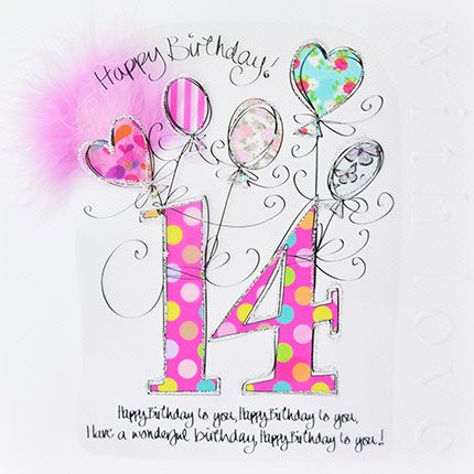 14th Birthday Cards - HAVE A Wonderful BIRTHDAY - LUXURY Boxed 14th BIRTHDA