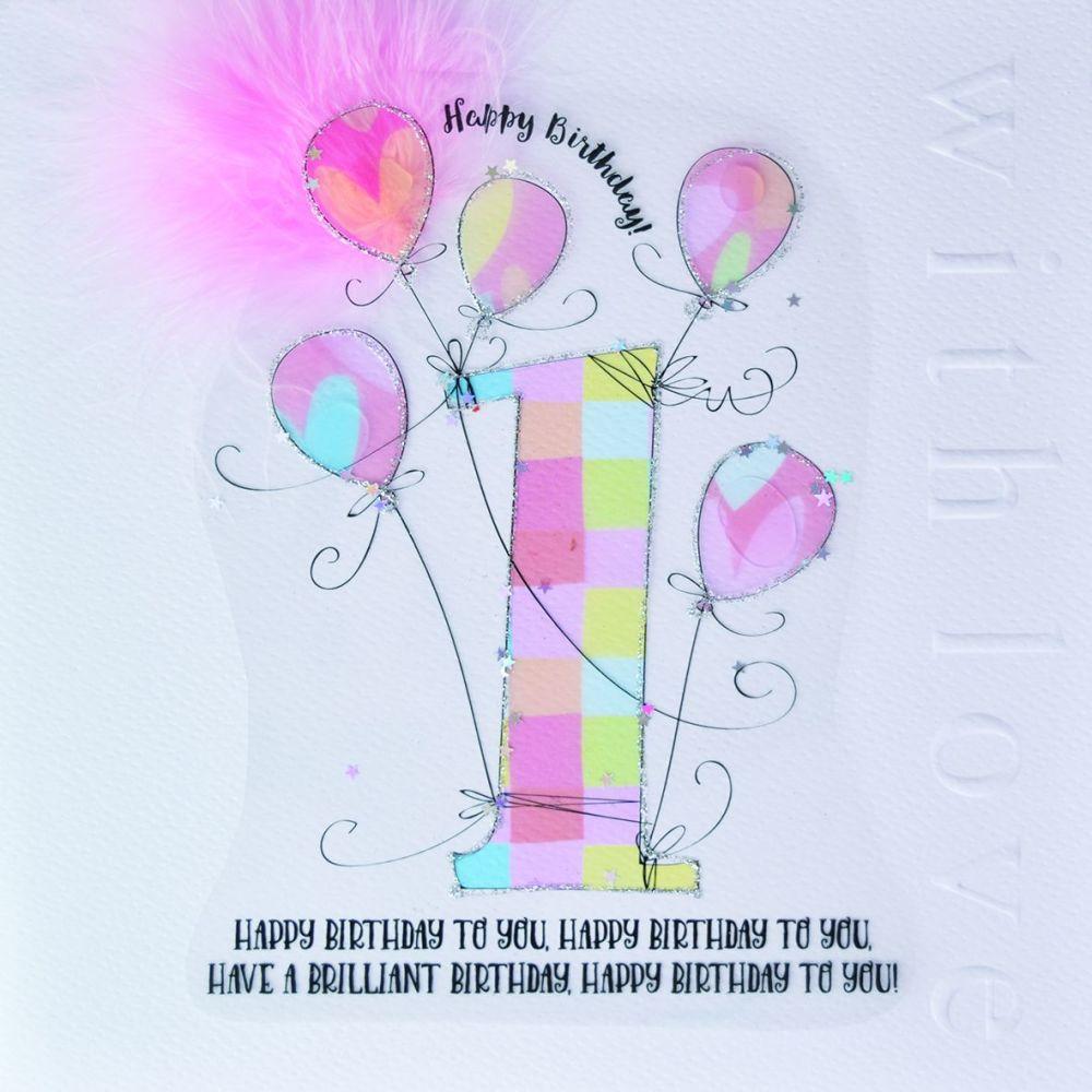 1st Birthday Card - Birthday CARD For BABY Girl - LARGE Embellished 1st BIR