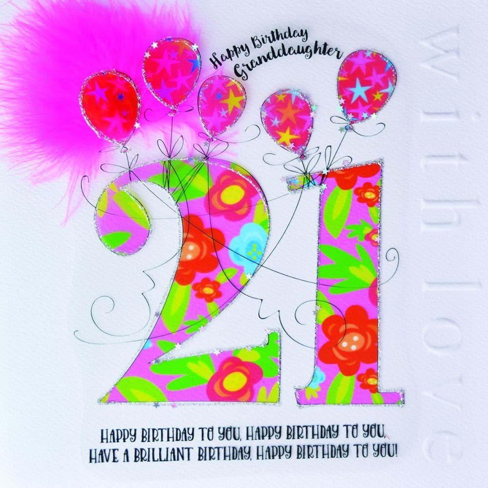 21st Birthday Card Happy Birthday Granddaughter Large