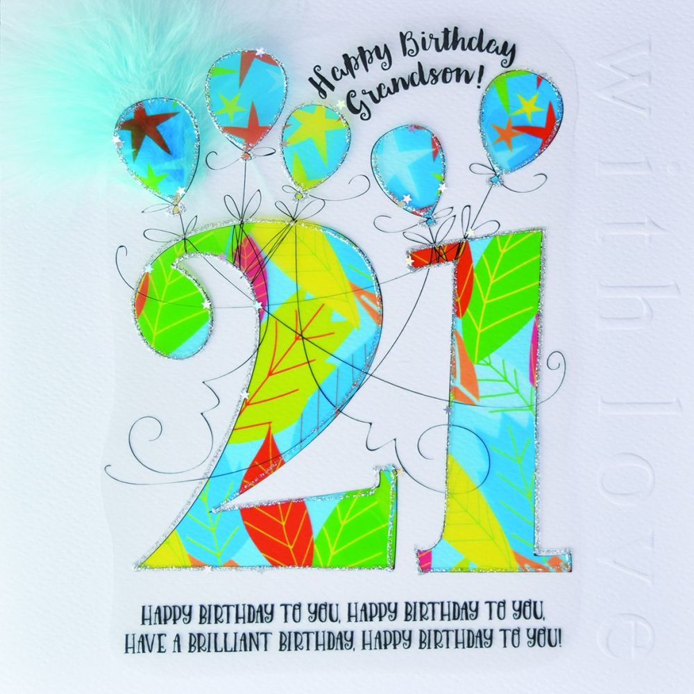 21st Birthday Card For Grandson - LUXURY Boxed 21st BIRTHDAY Card - HAPPY B