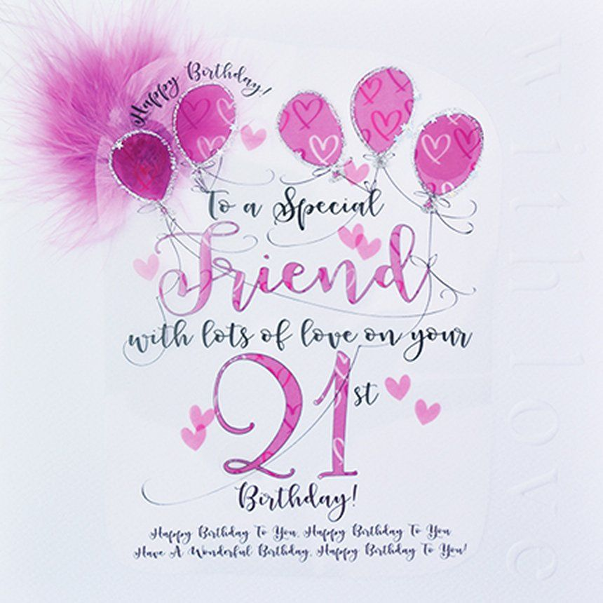 21st Birthday Card For A Special Friend - LUXURY Boxed 21st BIRTHDAY Card -