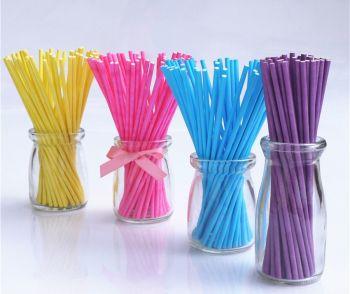 50 Paper Cake Pop Sticks - CAKE Pop STICKS - 15 cm - Pack of 50 - ASSORTED Colours