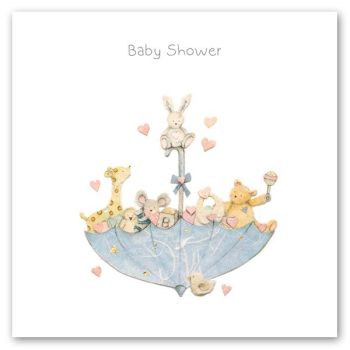 Baby Shower Cards - BABY Shower - Cute ANIMAL & Umbrella BABY Shower GREETING CARD - Baby Shower GREETING Card - Card FOR BABY Shower