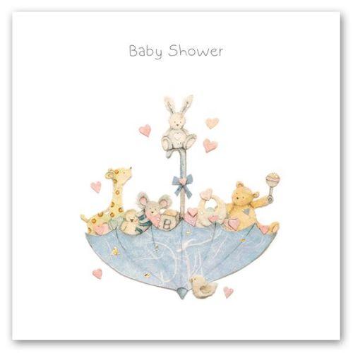 Baby Shower Cards - BABY Shower - Cute ANIMAL & Umbrella BABY Shower GREETI