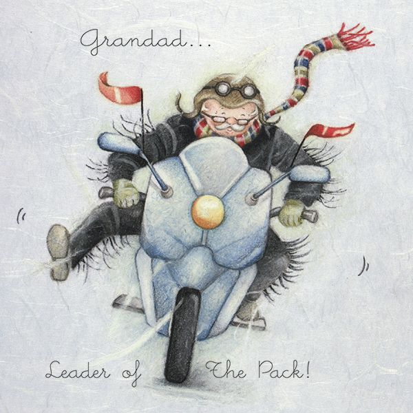 Motor Bike & Biker Birthday Cards - GRANDAD Birthday Cards - LEADER of THE