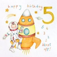 5th Birthday Card Boy - ASTRONAUT Spaceman Happy BIRTHDAY CARD - 5th BIRTHDAY Astronaut Card - BLAST OFF - CARD For SON - Grandson - GODSON