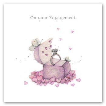 Engagement Cards - ENGAGEMENT Greeting CARDS - ON Your ENGAGEMENT - ENGAGEMENT Congratulation CARD - Engagement RING in a BOX - PRETTY Engagement CARD