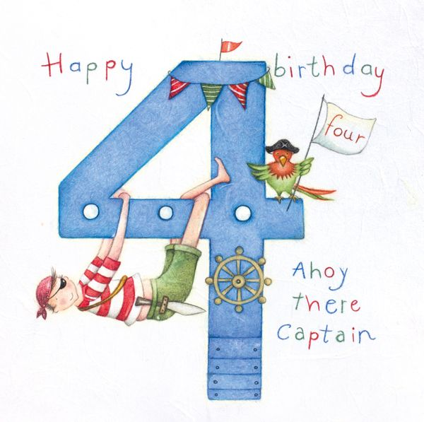 4th Birthday Card Boy - AHOY there CAPTAIN - Children's PARROT & Pirate Bir
