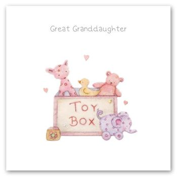 Great Granddaughter Birthday Card - GREAT Granddaughter - BIRTHDAY Cards For GREAT GRANDDAUGHTER - Birthday CARDS For GRANDDAUGHTER - Toy BOX Card