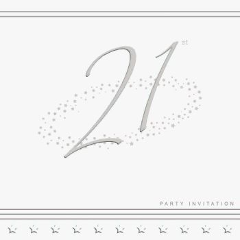 21st Silver Foil Birthday Party Invitation Cards 5pk - LUXURY INVITES - PARTY Invitations - PACK of 21st Party INVITATIONS - Party INVITES