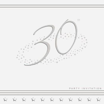 30th Silver Foil Birthday Party Invitation Cards 5pk - LUXURY INVITES - PARTY Invitations - PACK of 30th Party INVITATIONS - Party INVITES