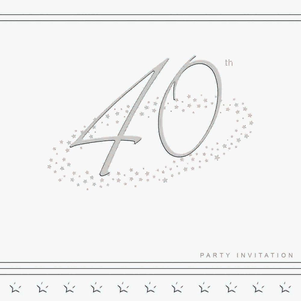 40th Silver Foil Birthday Party Invitation Cards 5pk - LUXURY INVITES - PAR