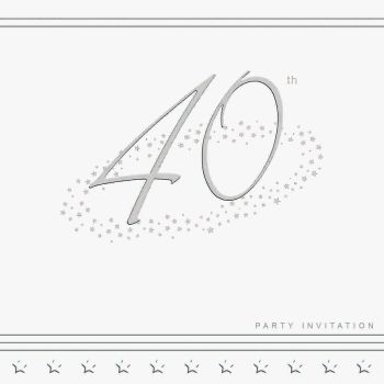 40th Silver Foil Birthday Party Invitation Cards 5pk - LUXURY INVITES - PARTY Invitations - PACK of 40th Party INVITATIONS - Party INVITES