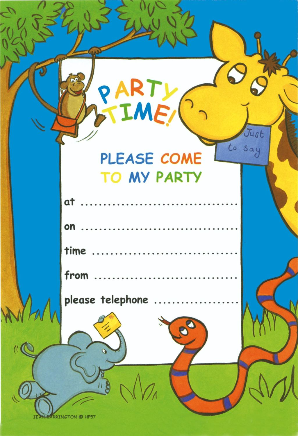Jungle Party Invitations 20 Sheets & Envelopes – ANIMAL Party INVITATIONS -