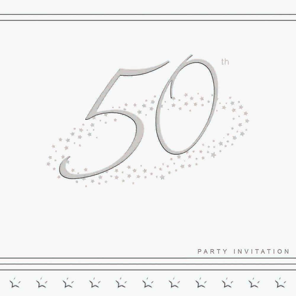50th Silver Foil Birthday Party Invitation Cards 5pk - LUXURY INVITES - PAR