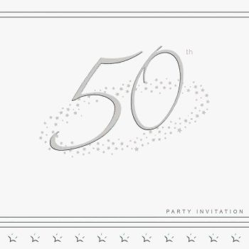 50th Silver Foil Birthday Party Invitation Cards 5pk - LUXURY INVITES - PARTY Invitations - PACK of 50th Party INVITATIONS - Party INVITES