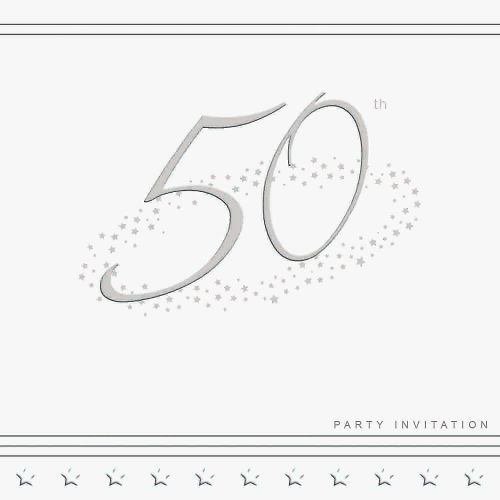50th Silver Foil Birthday Party Invitation Cards 5pk - LUXURY INVITES - PAR