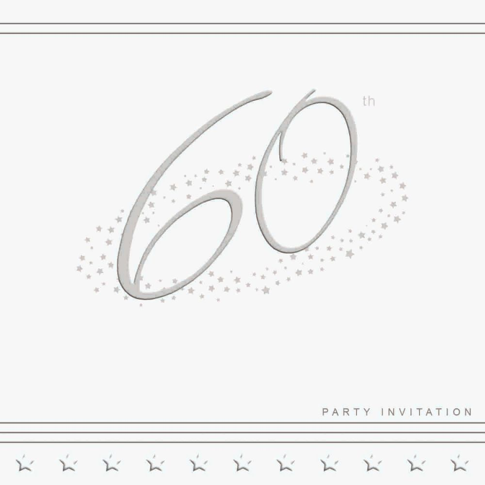 60th Silver Foil Birthday Party Invitation Cards 5pk - LUXURY INVITES - PAR