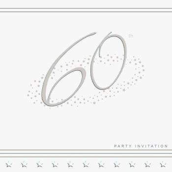 60th Silver Foil Birthday Party Invitation Cards 5pk - LUXURY INVITES - PARTY Invitations - PACK of 60th Party INVITATIONS - Party INVITES