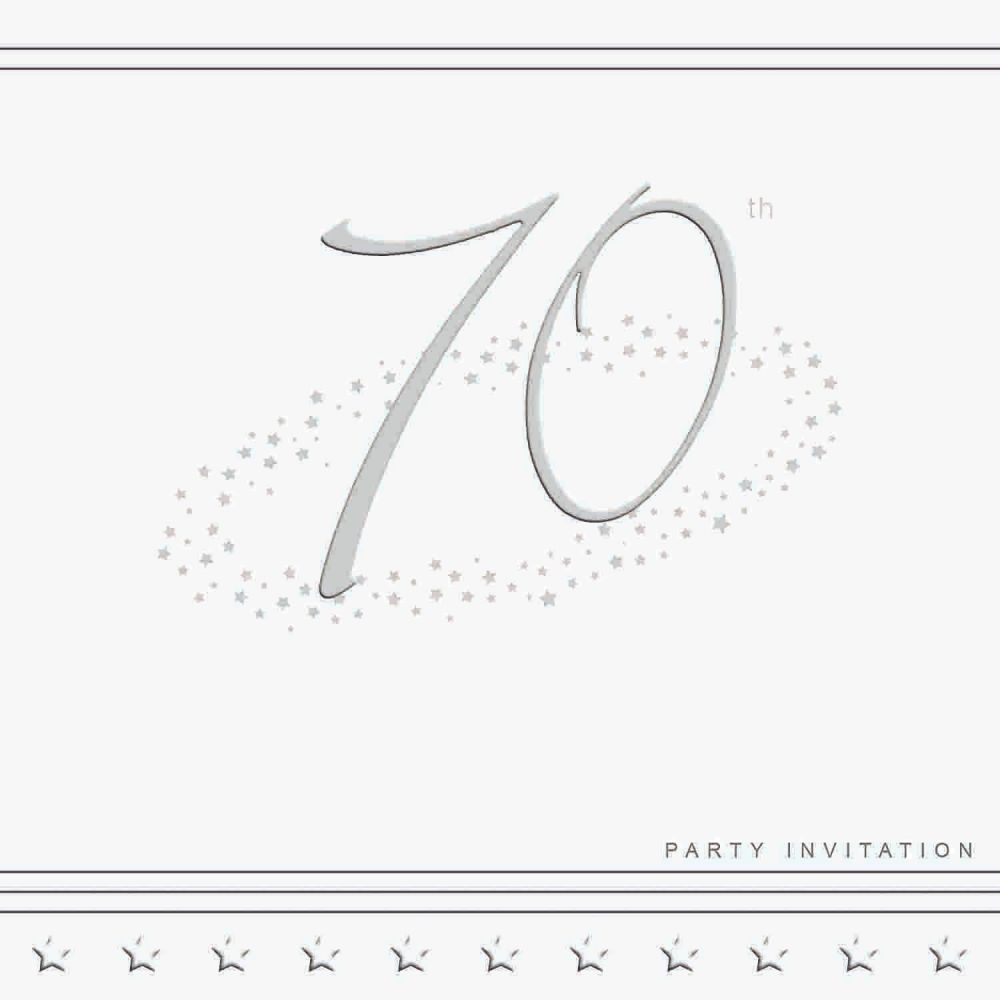 70th Silver Foil Birthday Party Invitation Cards 5pk - LUXURY INVITES -PART