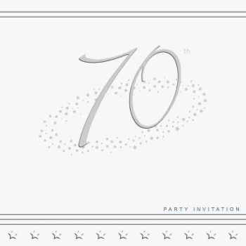 70th Silver Foil Birthday Party Invitation Cards 5pk - LUXURY INVITES -PARTY Invitations - PACK of 70th Party INVITATIONS - Party INVITES