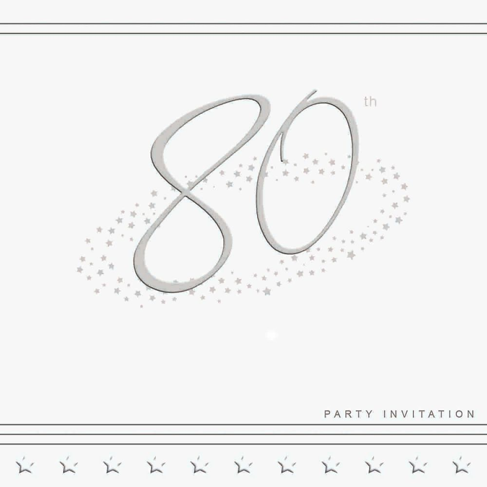 80th Silver Foil Birthday Party Invitation Cards 5pk - LUXURY INVITES - PAR