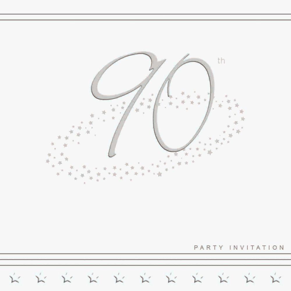 90th Silver Foil Birthday Party Invitation Cards 5pk - LUXURY INVITES - PAR