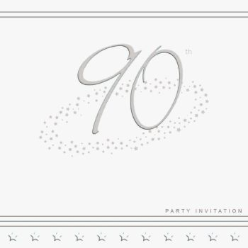 90th Silver Foil Birthday Party Invitation Cards 5pk - LUXURY INVITES - PARTY Invitations - PACK of 90th Party INVITATIONS - Party INVITES