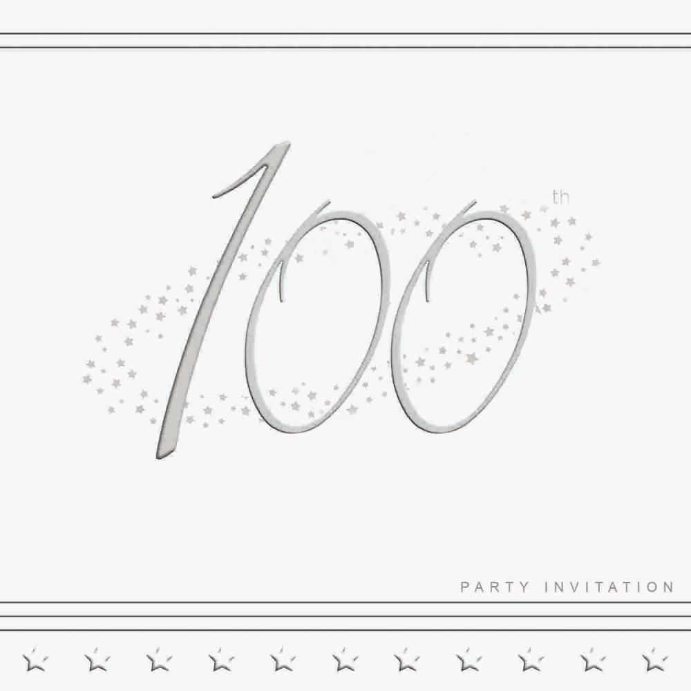 100th Silver Foil Birthday Party Invitation Cards 5pk - LUXURY INVITES - PA