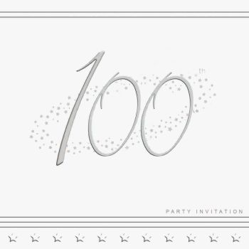 100th Silver Foil Birthday Party Invitation Cards 5pk - LUXURY INVITES - PARTY Invitations - PACK of 100th Party INVITATIONS - Party INVITES