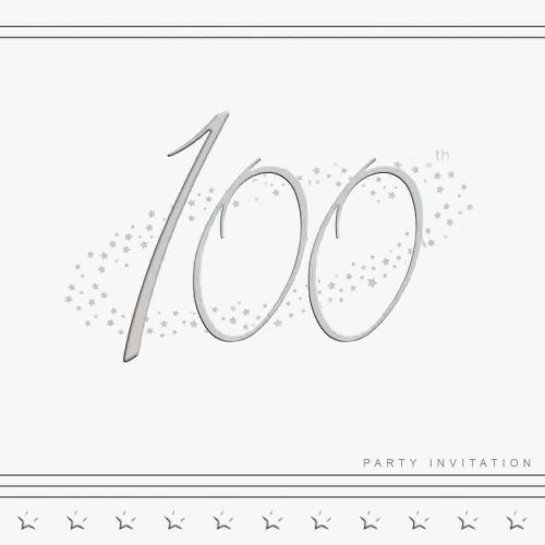 100th Silver Foil Birthday Party Invitation Cards 5pk