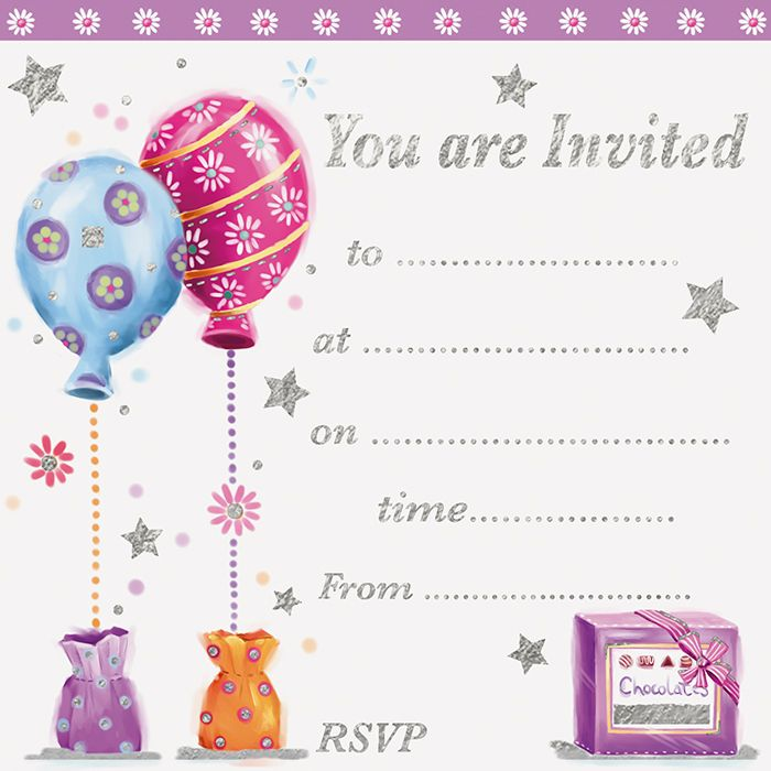 Silver Foil Party Invitations 10pk - BALLOON Card INVITES - ADULT Party INV