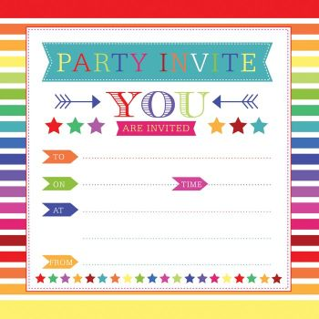 Birthday Party Invitations - COLOURFUL Embossed Birthday INVITATIONS & ENVELOPES 10pk - Birthday Party INVITES - Party INVITATIONS - Party INVITES