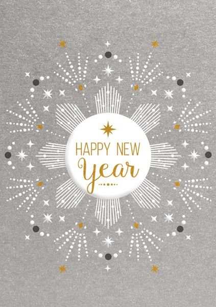 Happy New Year - NEW YEAR Cards - HAPPY New YEAR Card 2019 - SILVER Foil NE