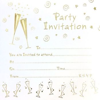 Cocktail Party Invitations - GOLD Foil PARTY Invitations 10pk - LUXURY Cards INVITES With Matching ENVELOPES - Gold SWIRL Adult Party INVITATIONS