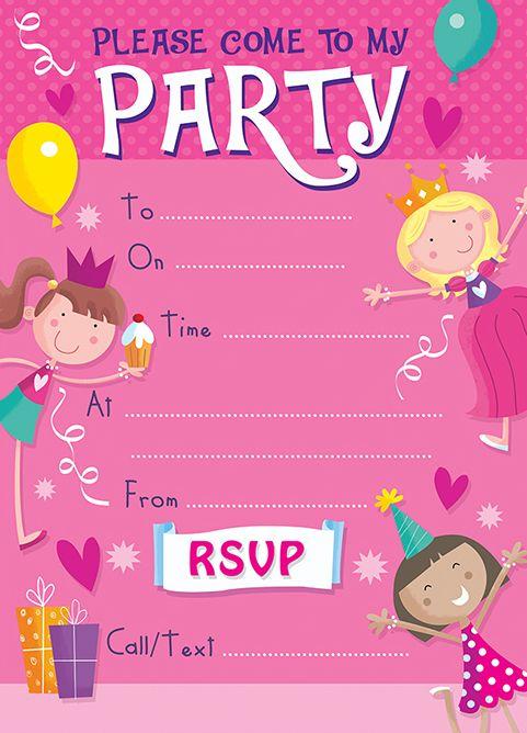 Princess Birthday Party Invitation PRINCESS Invite Theme GIRLS INVITATIONS