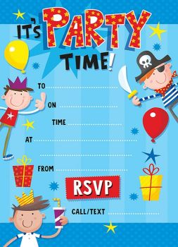 Boys Party Invitations – CHILDREN'S Party INVITATIONS Pack Of 20 - BOYS Birthday PARTY Invitations - IT'S Party TIME - KIDS Invitations
