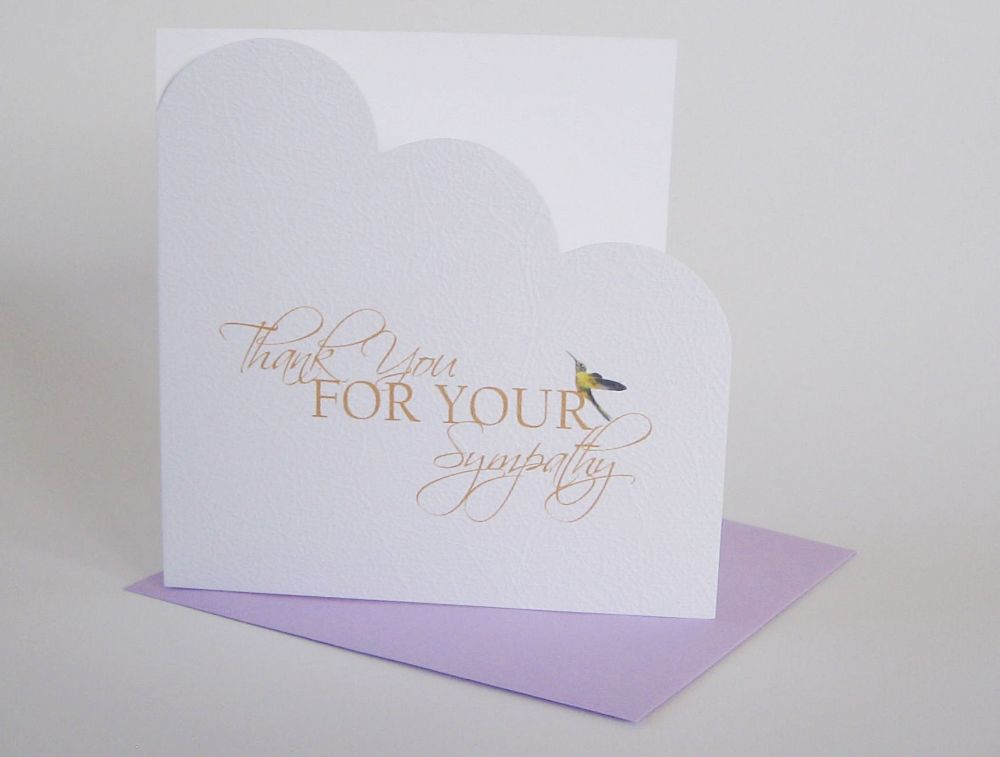 Hummingbird Thank You Card - THANK You For Your SYMPATHY - HANDMADE Thank Y