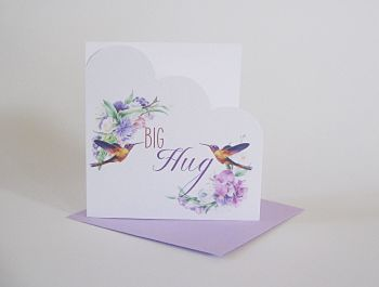 Sympathy Greeting Card - HANDMADE Card - CONDOLENCE Card - BIG Hug - Hummingbird SYMPATHY Card - Beautiful CONDOLENCE Card