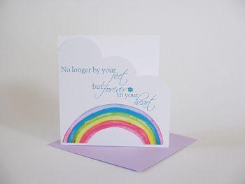 Pet Sympathy Card - HANDMADE Card - CONDOLENCE Card - FOREVER in Your HEART - RAINBOW Bridge CARD - Dog Bereavement CARD - CAT Bereavement Card