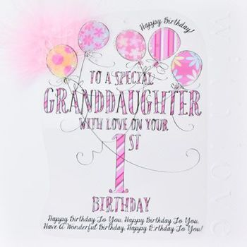 1st Birthday CARD For a SPECIAL Granddaughter - TO  A Special GRANDDAUGHTER with LOVE - Special GRANDDAUGHTER Age 1 - Large LUXURY Boxed 1st Birthday